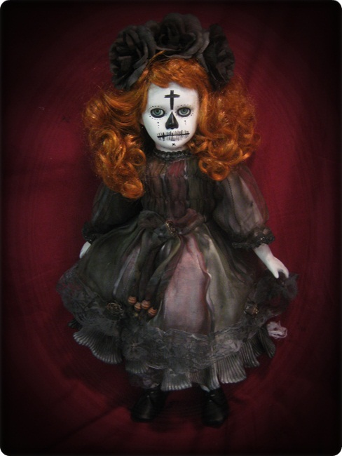 Day of Dead Red Hair Green Eyes Creepy Horror Doll by Bastet2329