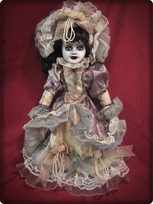 Fancy Dress Lady w Blue Eyes Creepy Horror Doll by Bastet2329