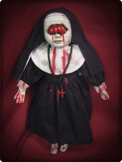 Eye Mouth Vampire Nun w/ Blood Creepy Horror Doll by Bastet2329