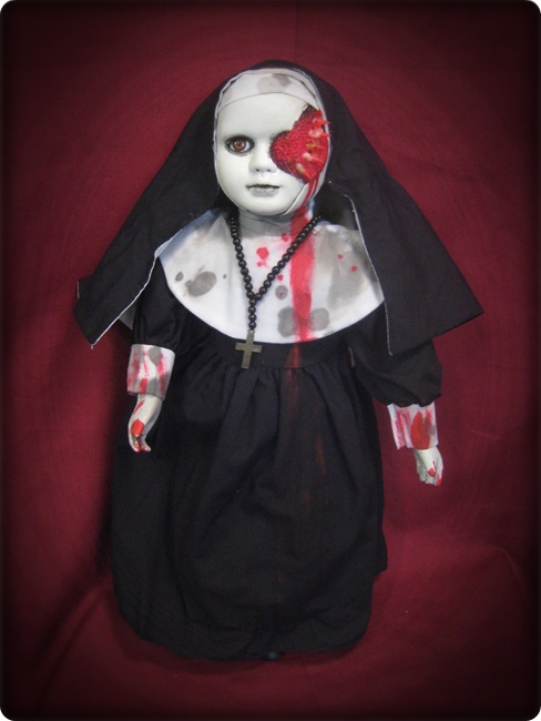 Half Face Vampire Nun w/ Blood Creepy Horror Doll by Bastet2329 - Click Image to Close