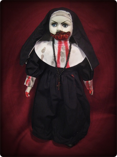 Large Mouth Vampire Nun w/ Blood Creepy Horror Doll by Bastet2329