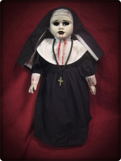 Spooky Nun w Hollow Eyes and Blood Creepy Horror Doll by Bastet2329