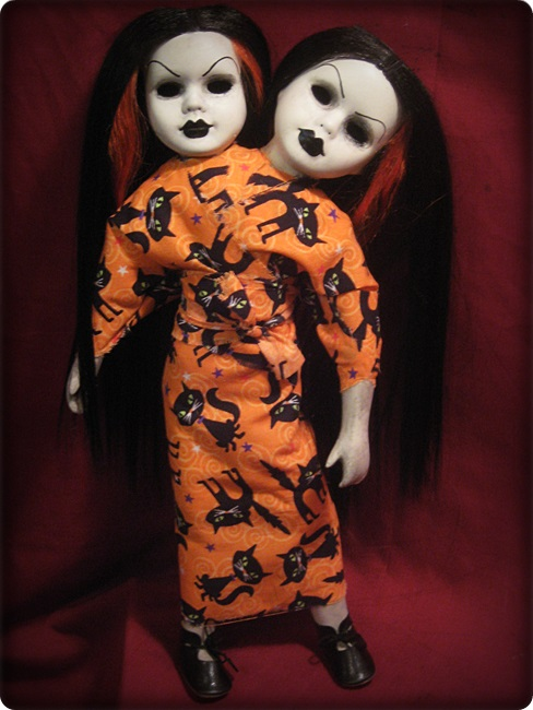 Siamese Conjoined Black Hair Twins w Cat Dress Creepy Horror Doll by Bastet2329