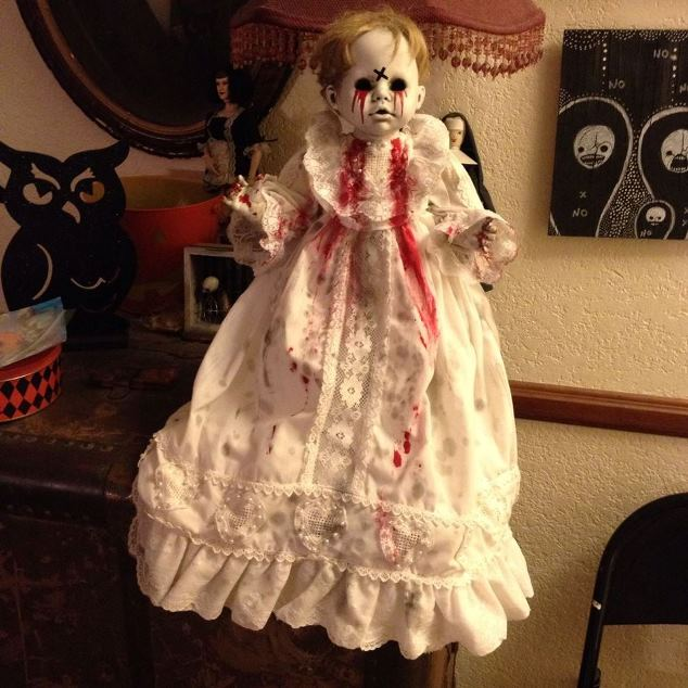 Possessed Baby in Christening Gown w blood Creepy Horror Doll by Bastet2329