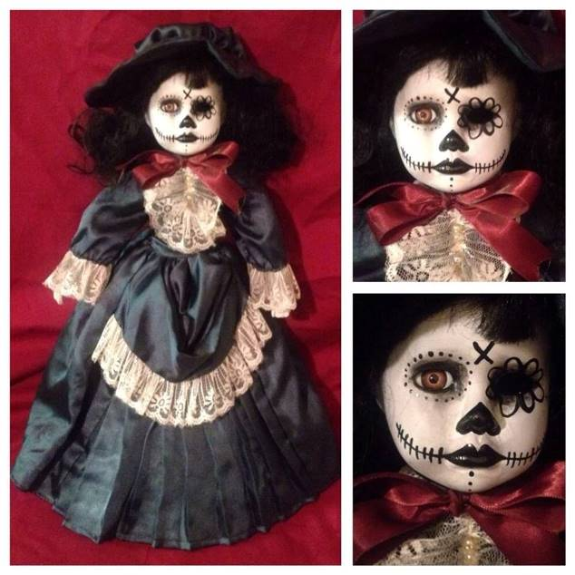 Day of the Dead Lady in Green Creepy Horror Doll by Bastet2329