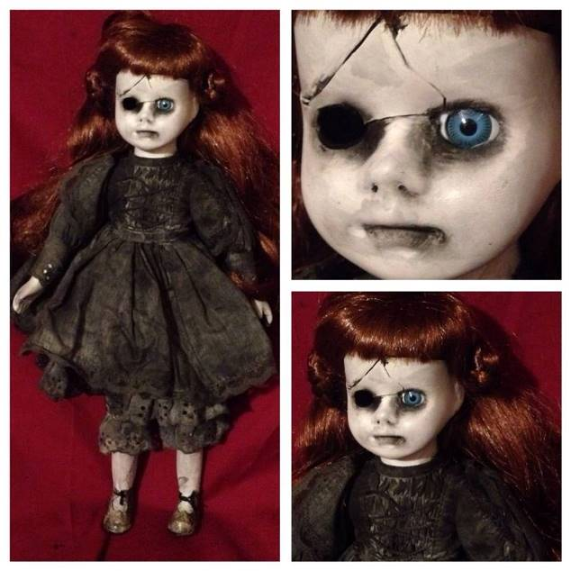 One Eyed Cracked Red Head Mourning Creepy Horror Doll by Bastet2329