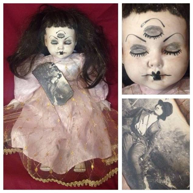 3 Eyes Repaint Old Photo Sitting Creepy Horror Doll by Bastet2329