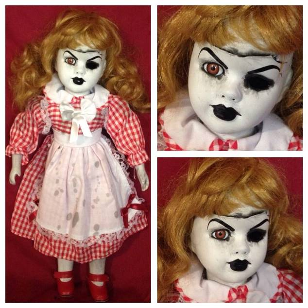 One Eyed Blonde Red & White Plaid Dress Creepy Horror Doll by Bastet2329