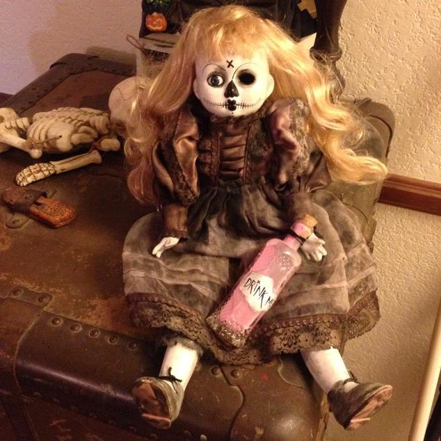Dark Alice Day of the Dead Sitting or Standing Creepy Horror Doll by Bastet2329