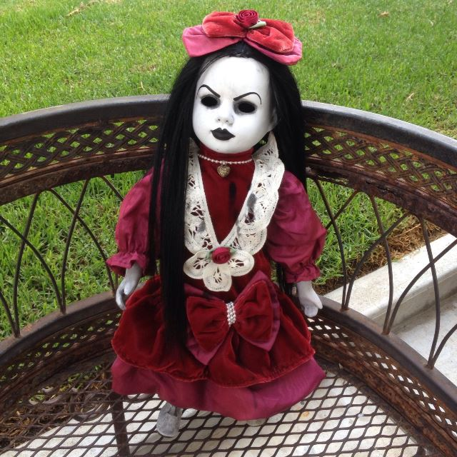 Black Hair Velveteen Dress Creepy Horror Doll by Bastet2329