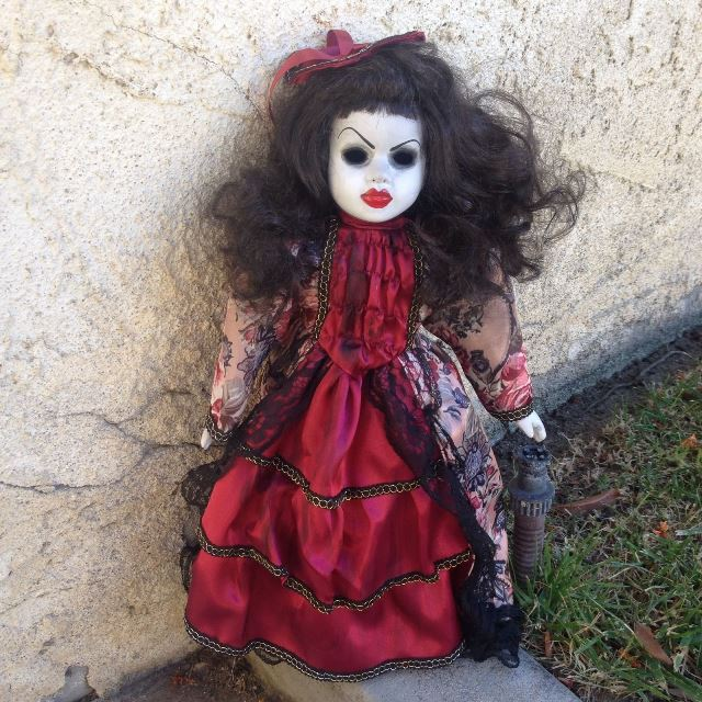 Red Lips Maroon Fancy Dress Creepy Horror Doll by Bastet2329