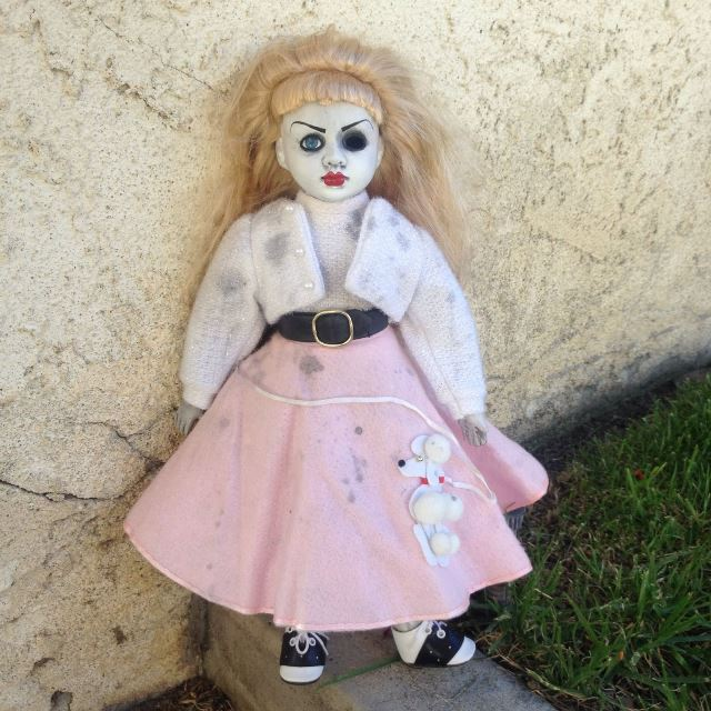 50's Girl in Poodle Skirt Creepy Horror Doll by Bastet2329