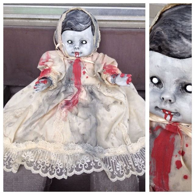 Possessed Baby in Christening Gown w blood Smaller Creepy Horror Doll by Bastet2329