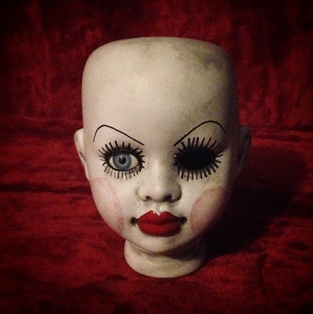 Doll Head One Eye Red Lips Eyelashes Creepy Horror Doll Head by Bastet 2329