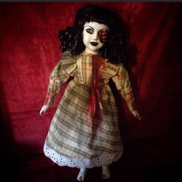 Half Face Vampire in Plaid Creepy Horror Doll by Bastet2329