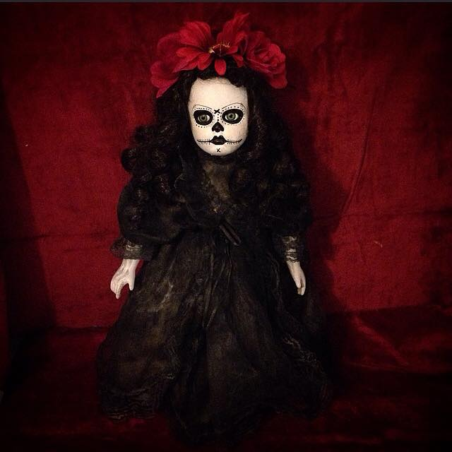 Mourning Day of the Dead Girl w Roses Creepy Horror Doll by Bastet2329