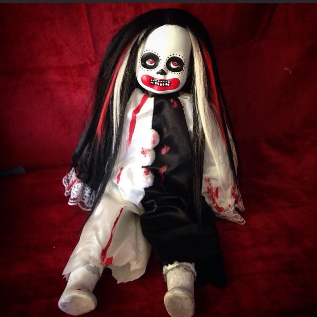 Sitting Day of the Dead Clown Black White & Red Creepy Horror Doll by Bastet2329