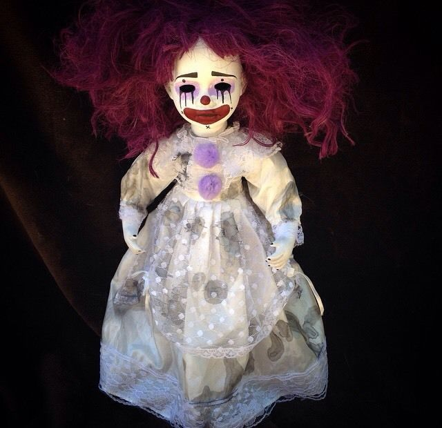 Purple Hair Clown Circus Sideshow Creepy Horror Doll by Bastet2329