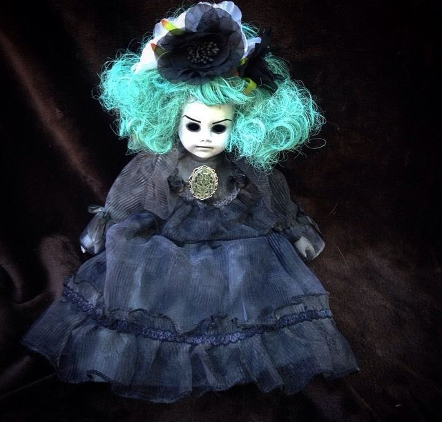 Teal Hair Mourning Girl Creepy Horror Doll by Bastet2329