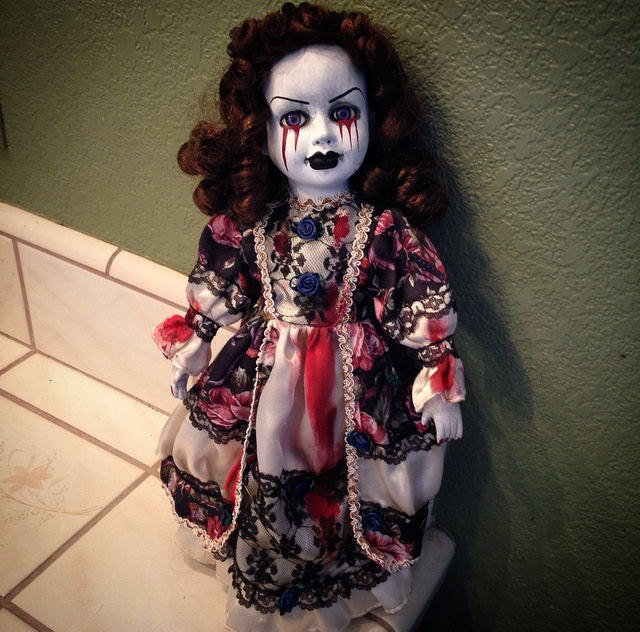Tears of Blood Lady w Violet Purple Eyes Creepy Horror Doll by Bastet2329