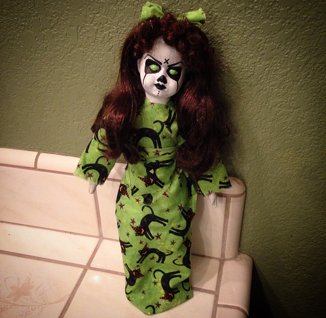 Halloween Musical Green Demon Cat Print Dress Creepy Horror Doll by Bastet2329