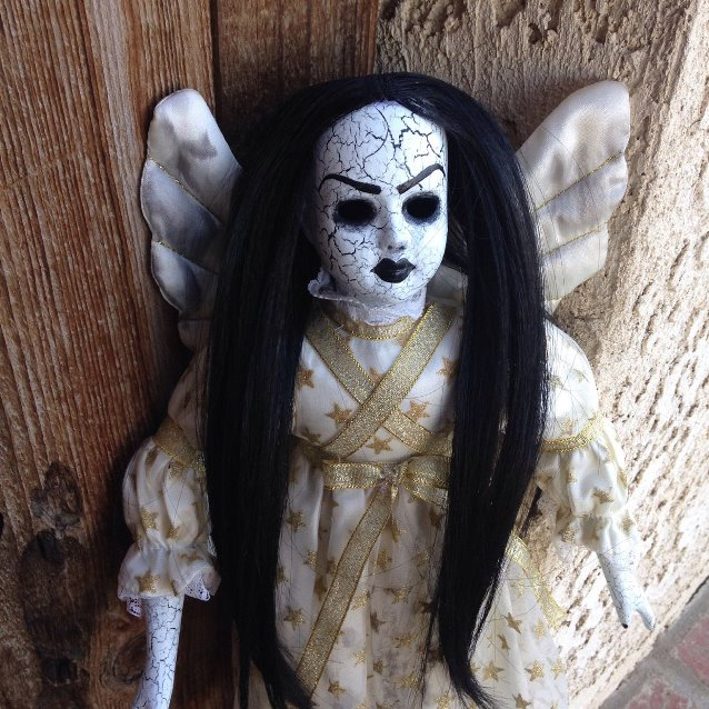 Black Hair Angel Crackled Fairy Creepy Horror Doll by Bastet2329