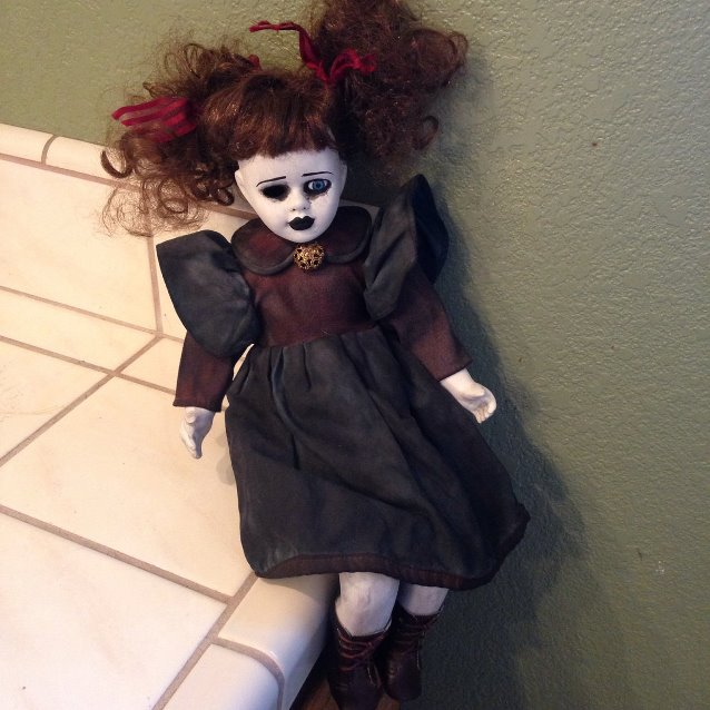 Sitting One Eye Child w Pigtails Creepy Horror Doll by Bastet2329