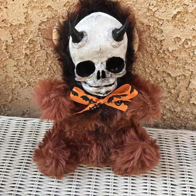 Horned Devil Skull Brown Bear Plush Halloween Bow Creepy Horror Doll by Bastet2329