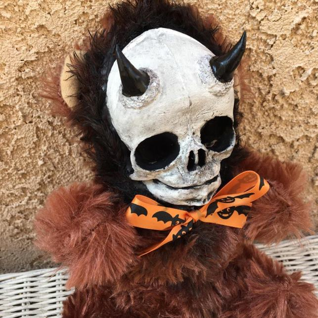 Horned Devil Skull Brown Bear Plush Halloween Bow Creepy Horror Doll by Bastet2329 - Click Image to Close