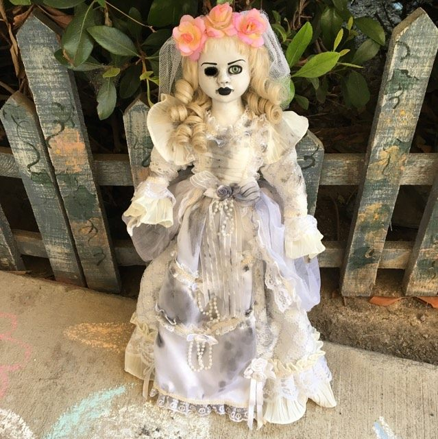 Beautiful One Eye Flower Crown Bride Creepy Horror Doll by Christie Creepydolls