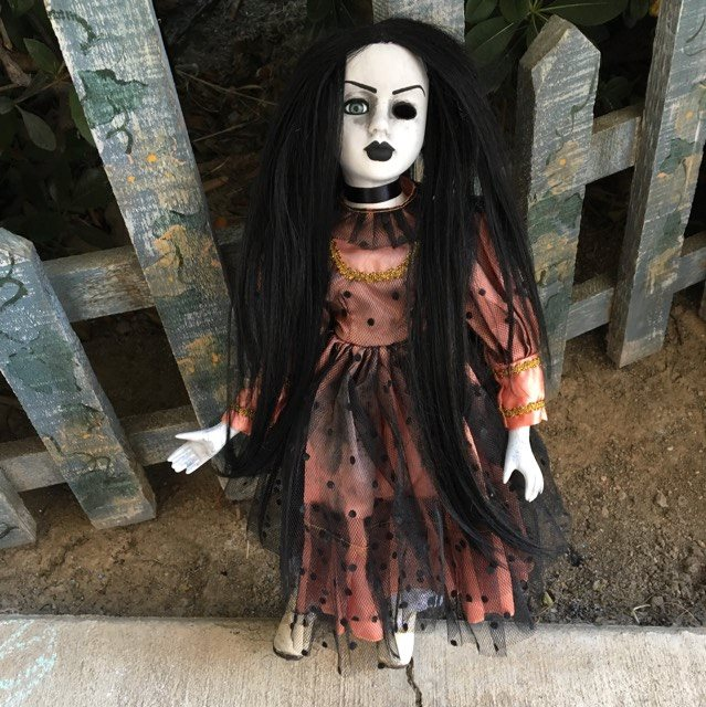 One Eye Pretty Girl Long Black Hair Halloween Creepy Horror Doll by Christie Creepydolls