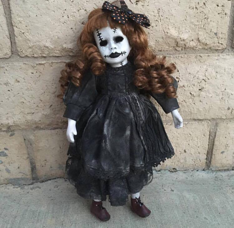 Halloween Frankenstein Girl w/ Hollow Eyes Creepy Horror Doll by Christie Creepydolls