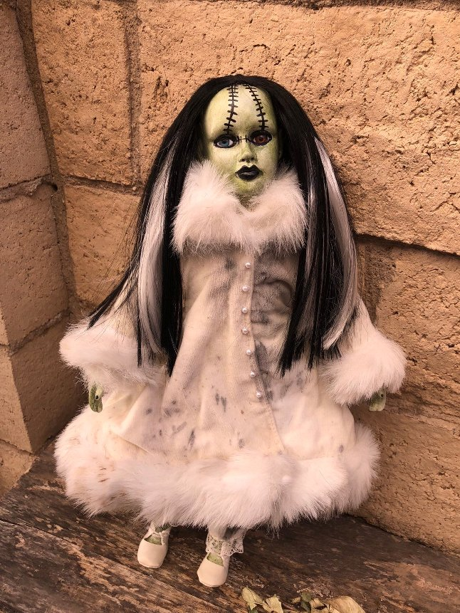 OOAK Bride of Frankenstein Creepy Horror Doll Art by Christie Creepydolls