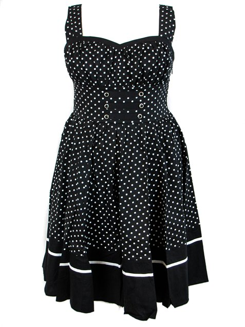 Plus Size Black & White Polka Dot Flirty Rockabilly Dress