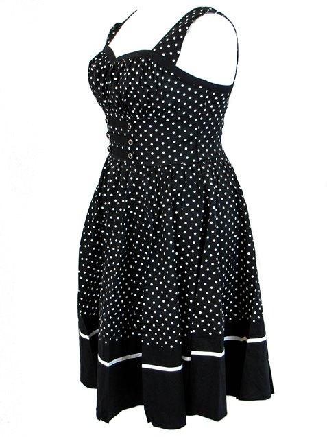 D46 Artsy Black WHite POLKA DOT Cool Batik Dress Lagenlook Bust 41-46 1X 2X