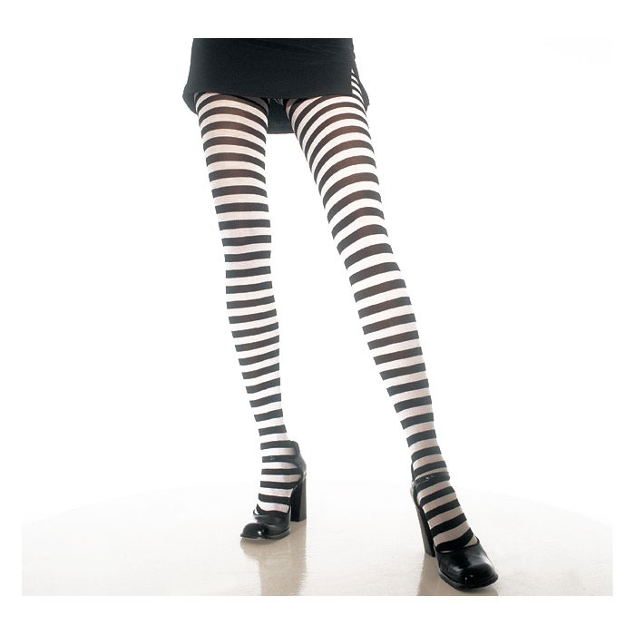 Plus Size Opaque Black & White Fairy Striped Tights