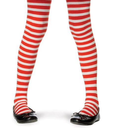 Opaque White & Red Fairy Striped Tights