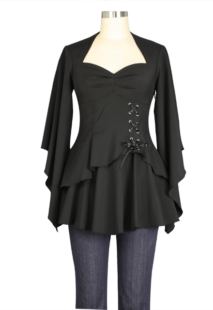 Plus Size Black Gothic Kimono Sleeve Sweetheart Side Corset Top