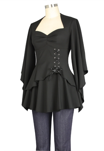 Plus Size Black Gothic Kimono Sleeve Sweetheart Side Corset Top - Click Image to Close