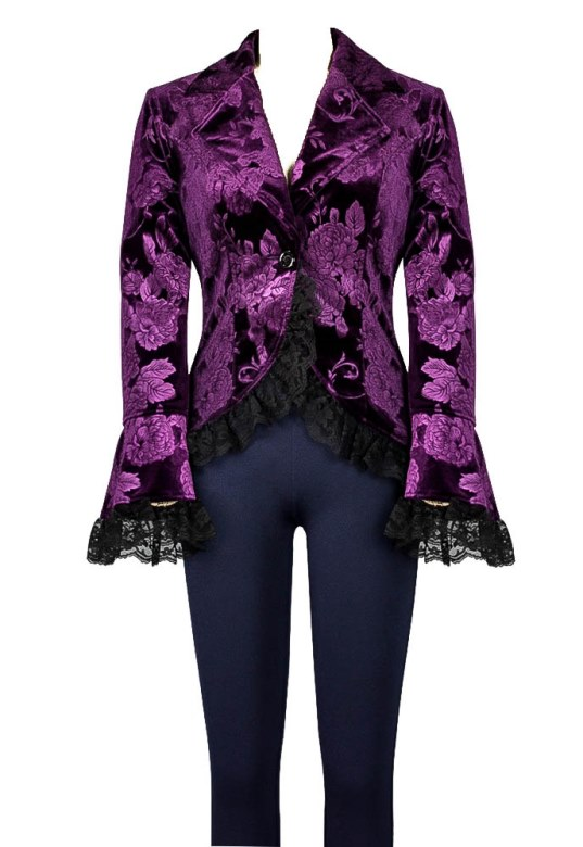 Plus Size Purple Pattern Gothic Lace Trim Corset Velvet Jacket
