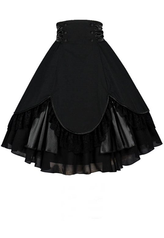 Plus Size Black Gothic High Waist Lace and Tafetta Skirt