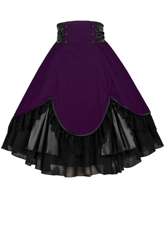 Plus Size Purple & Black Gothic High Waist Lace and Tafetta Skirt