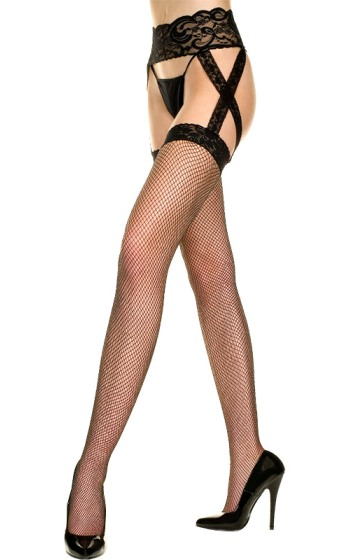 Plus Size Black Fishnet One Piece Garter w Criss Cross