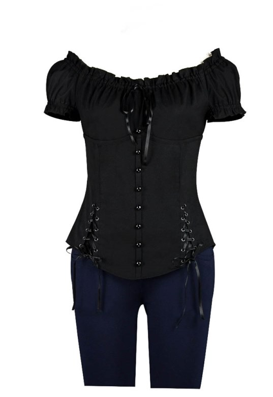 Plus Size Black Gothic Double Corset Lacing Flirty Top