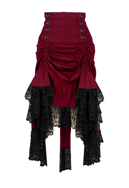 Plus Size Burgundy & Black Gothic Black 2 Way Lace up Burlesque Hi Low Skirt