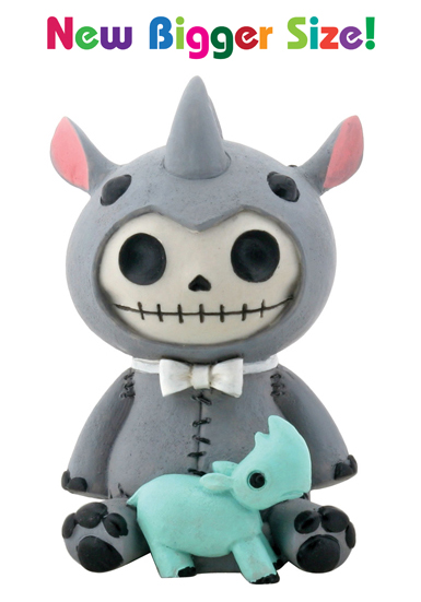 Buster the Rhino Furry Bones Skellies Medium Figurine
