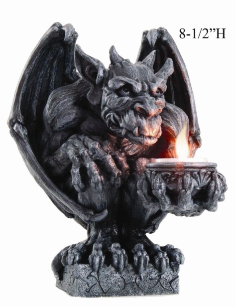 Gargoyle Clutching Candle Holder