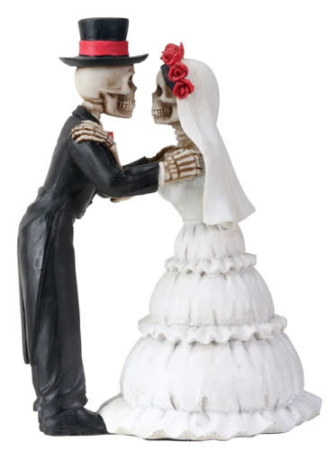 Day of the Dead Skeleton Couple Clutching Arms Wedding Cake Topper