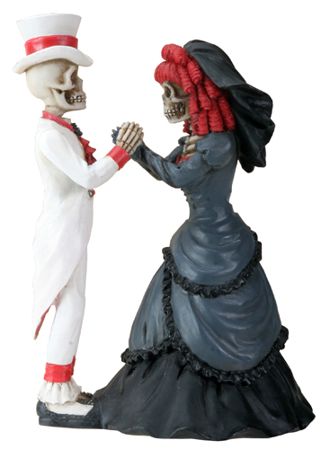 Day of the Dead Gothic Couple Holding Hands Wedding Cake Topper