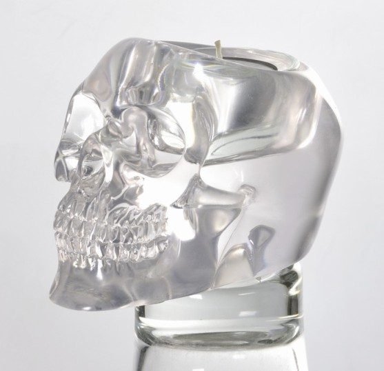 Clear Translucent Skull Candle Holder